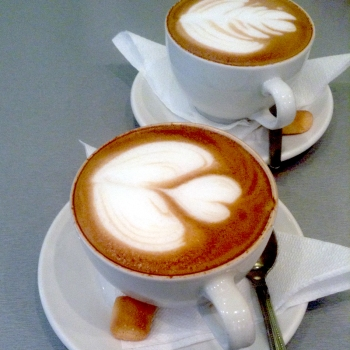 Cappuccinos at The Mint Café, I was given two hearts.
