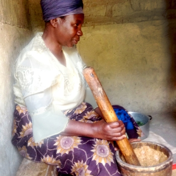 Zimba | Pounding Nuts with Wooden Mallet and Mortar